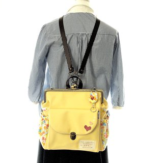 【Tokimeki and courage heart 】3 WAY Right side zipper backpack Lemon sorbet