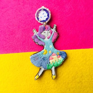 Dancing Little me hand printing and embroidery earring castle dress