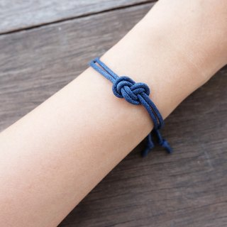 Infinity bracelet , waxed cotton cord bracelet in navy blue
