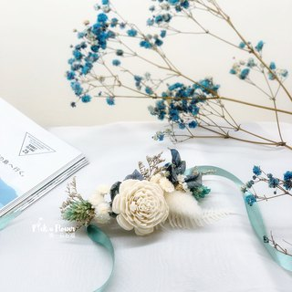 Flower Marriage Series Wrist Flower Bride Outside Shooting / Sending Style / Bridesmaid Wrist Flower / Blue and White