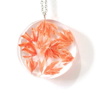 Colour Freak Studio Orange Dried Flower Necklace / Flat round pendant / Flower In Ice Series