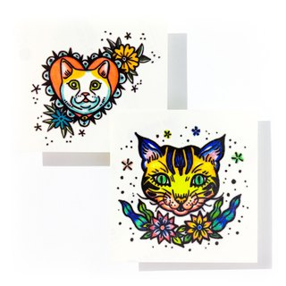 LAZY DUO Temporary Tattoo Sticker Pop Color Crazy New School Old School Cat Dog