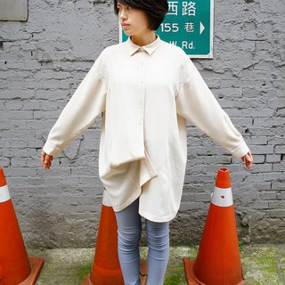 Beige wide version slim long shirt