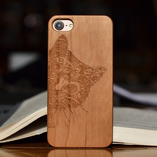 Oxytropis personalized custom laser engraving natural iPhone 6 / 6s / 6 plus / 6s plus / 7/7 plus wood + green frosted plastic phone shell