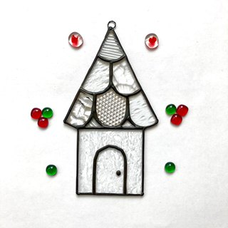 Stained glass sun catcher Maison Scales roof clear