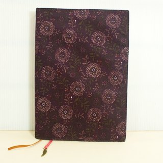 A5 / 25K adjustable multi-functional clothes book / cloth slipcase -A7 flowers (purple)