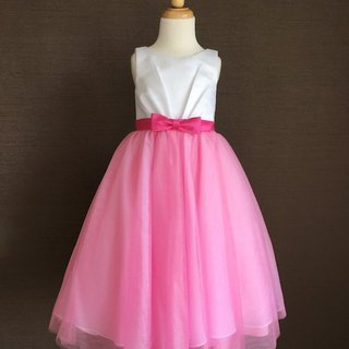 Fuchsia Ball Gown Dress with Bow Waist