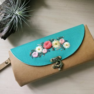 Hand embroidery organ purse with flower time