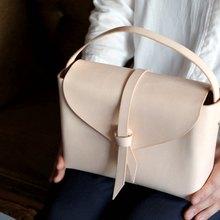2way leather box bag /  2way レザーボックスバッグ #ベージュ(ヌメ革)