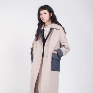 kitann ino original independent design denim stitching straight beige coat jacket
