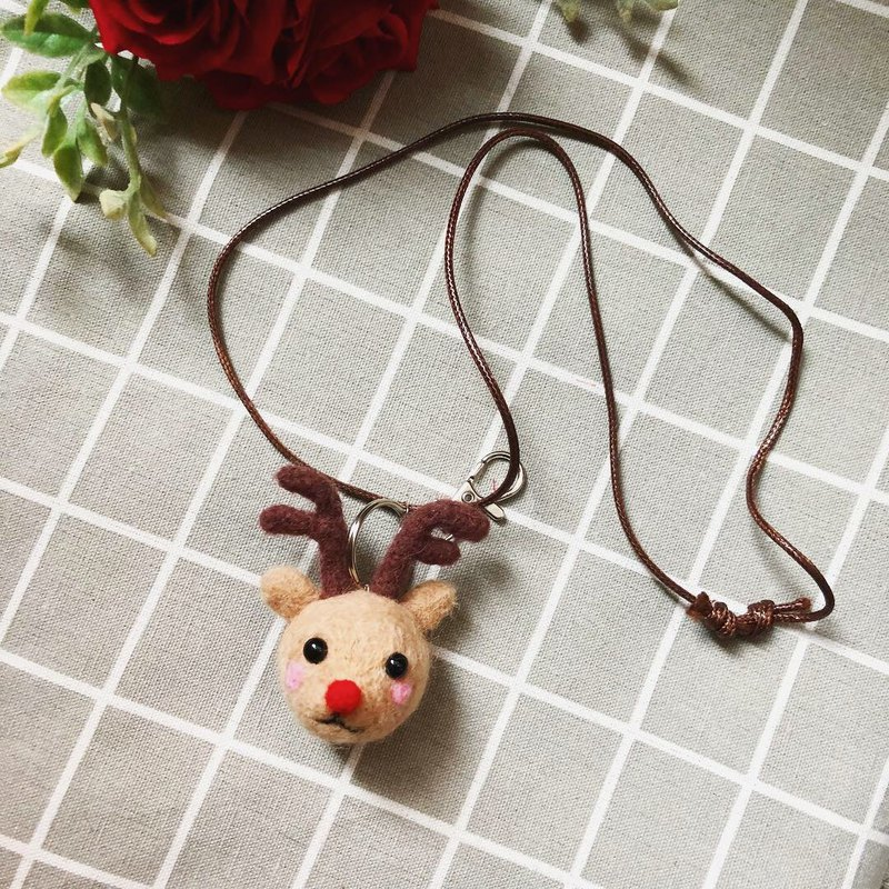 Wool felt red nose reindeer necklace key ring / exchange gift