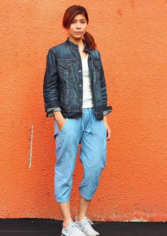 "Calf Calf Village village vintage vintage retro GAP denim jacket collar {my ""festival wrinkle"" feeling blue black} [V-10] neutral"