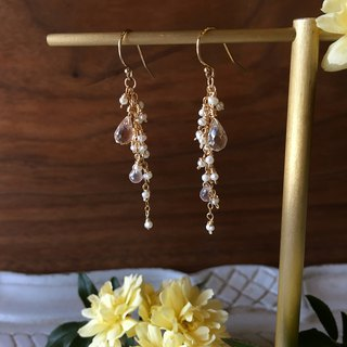 Handmade earrings dangling crystal pearls