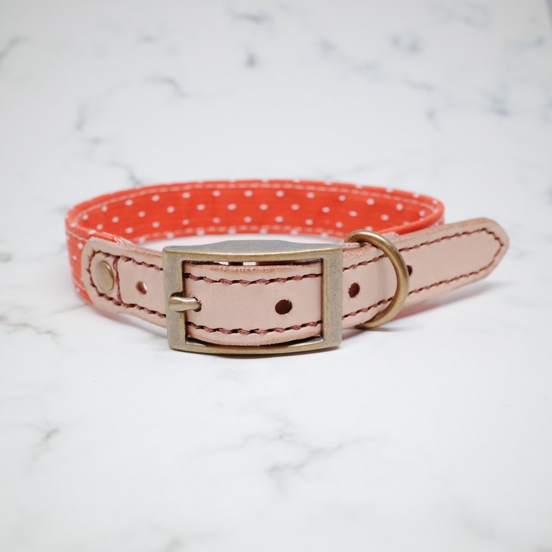 Dog collars, M size, Red stripe & dots_DCK090452
