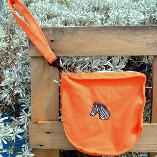 Zebra embroidered handbag / cosmetic bag / Storage bag - orange thick canvas
