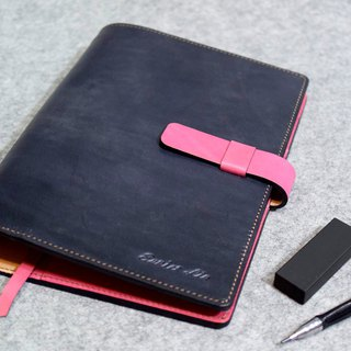 YOURS A5-Size leather loose-leaf notebook plug special section plus gray blue leather + peach