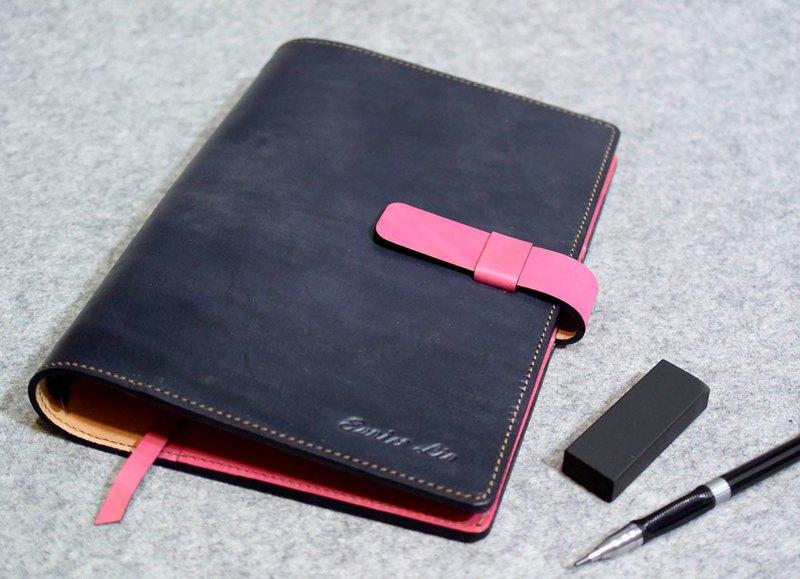 真皮活頁筆記本插梢款  特製加層版 灰藍皮革+亮桃