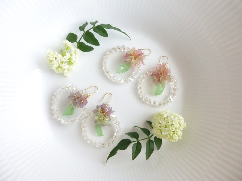Hydrangea earrings, earrings, sparkling raindrop rings