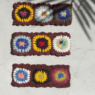 Mother's Day Gifts Handmade Cotton Weaving Hairbands/Weaving Ribbons - Brown crocheted colorful flowers