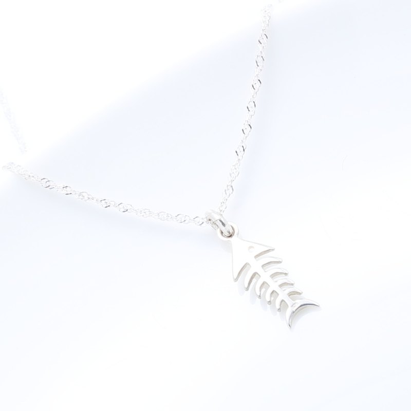 Lucky Fish Fishbone s925 sterling silver necklace Valentine's Day gift