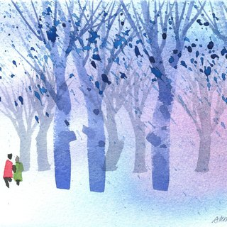 Healing Forest Series b1 - Watercolor Hand Painted Limited Edition Postcard/Christmas Card