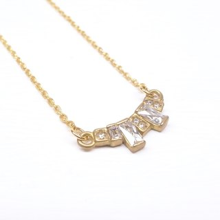 Ershi silver [long small zircon 18K gold small short chain] 16 inches