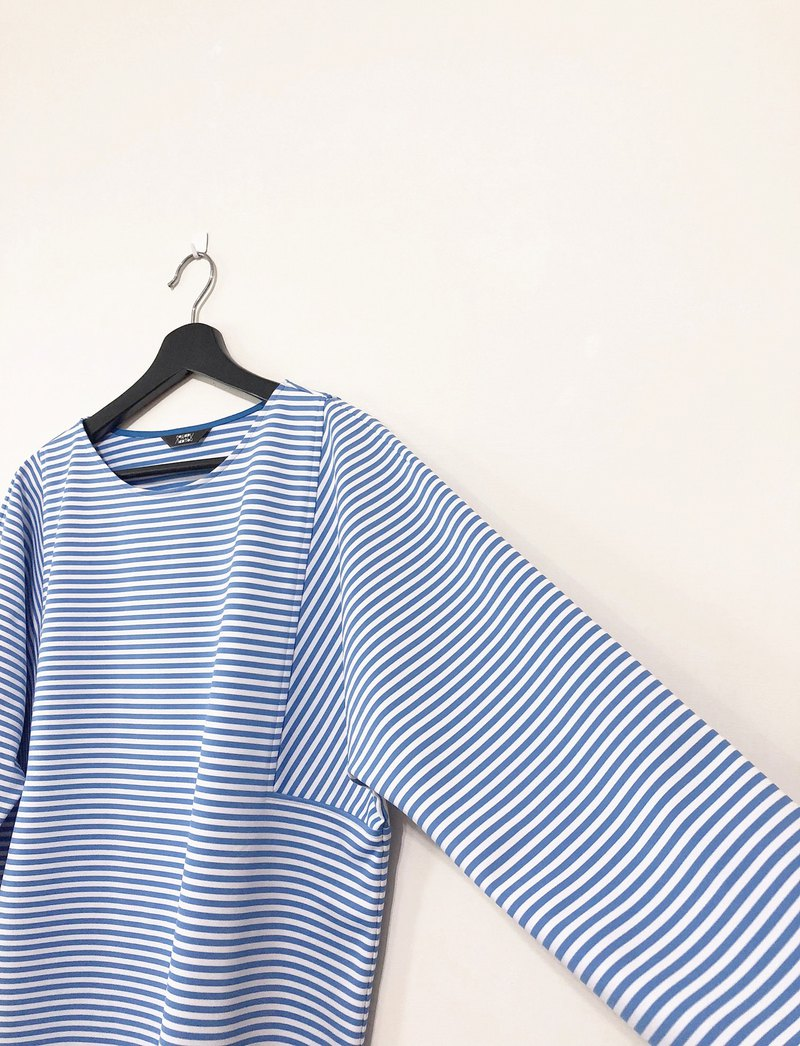 Hand made water blue striped top