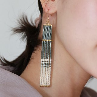 Grey-Ivory - Long Beaded Tassel Earrings