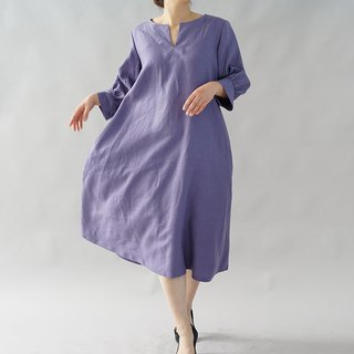 linen dress /  slit neck / dress / loose fitted dress / Viola-Se-Gliese / a46-5