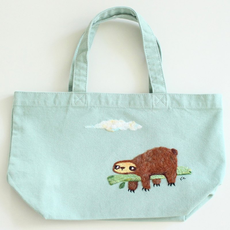 Sloth wool felt embroidery canvas tote bag, handmade - Wearable art