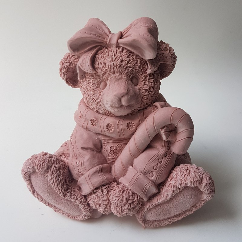 Bear with Candy Cane aroma stone statue