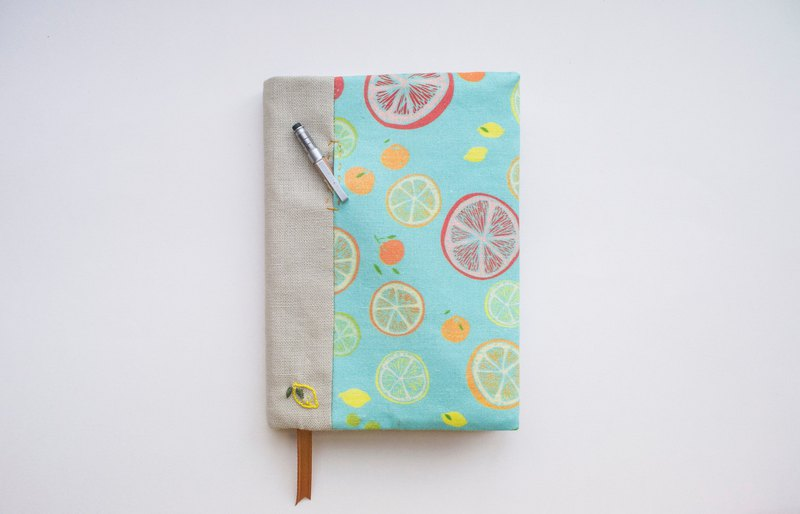 Jot of Ideas fabric A6 bookcover - Citrus Summer