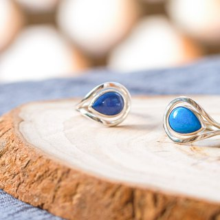 Simple Blue Blue Stone Drop Ring - Light Blue 925 Sterling Silver