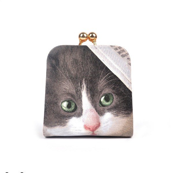 Handmade Christmas gift - Benz cat mouth gold purse