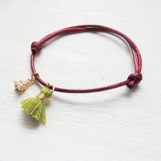 Rosy Garden  Tassel with tiny charm wine red wax rope hand Strap
