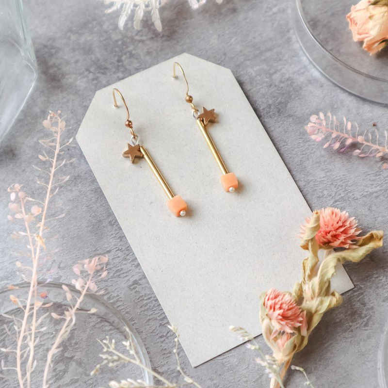 Natural stone geometric brass series earrings - fantasy love