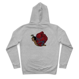 Heart snail - Deep Heather Grey - Hooded Zip Jacket