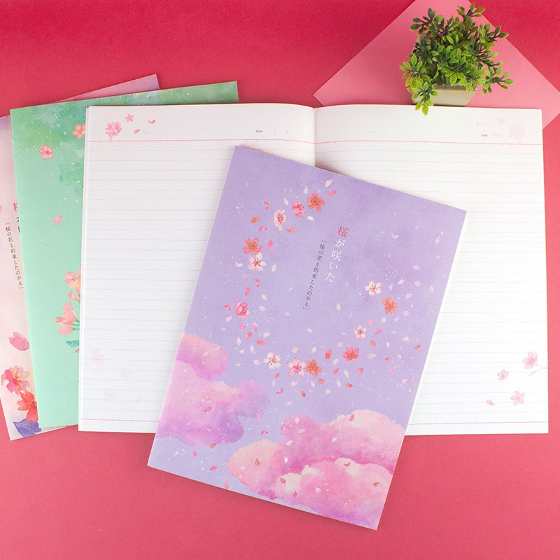 16K horizontal line fixed page notebook / notepad / cherry の day -30 sheets