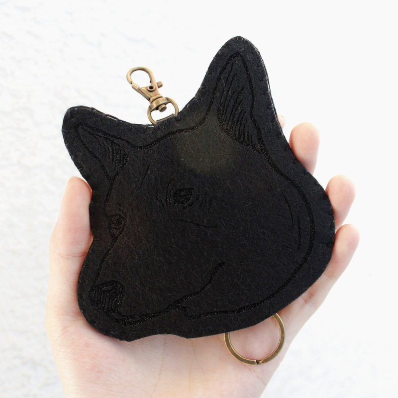 Dog- Dog series - wool felt Wallets Key sets / wool felt key sets &lt; <Taiwan Dog 台灣犬 - 黑 > &gt; Wool felt gogoro key sets