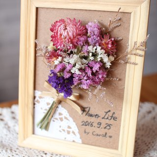 Small decorative dried flower bouquet frame
