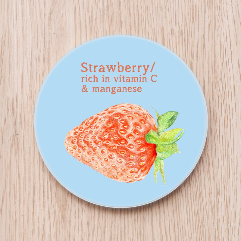 Healthy Fruit Illustration Ceramic Coaster - Strawberry, Food Plant Tropical Fruit Nutritionist Vitamin C