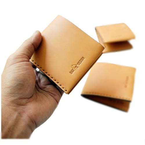 Wallet Simple bi-fold Vegetabel Tanned Leather hand stitching