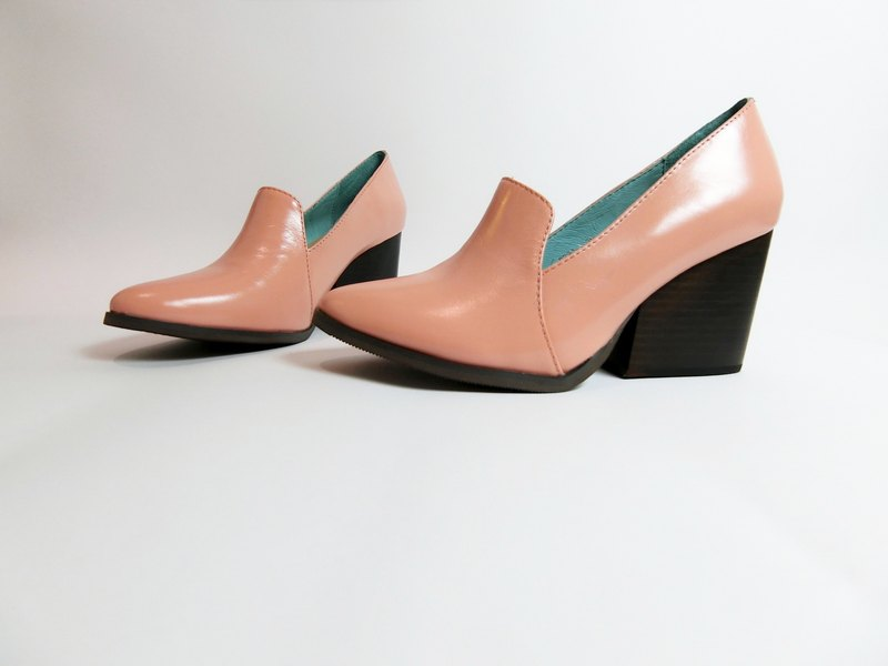 Painting # 8074 || Pointed modern thick high heels mermaid powder ||