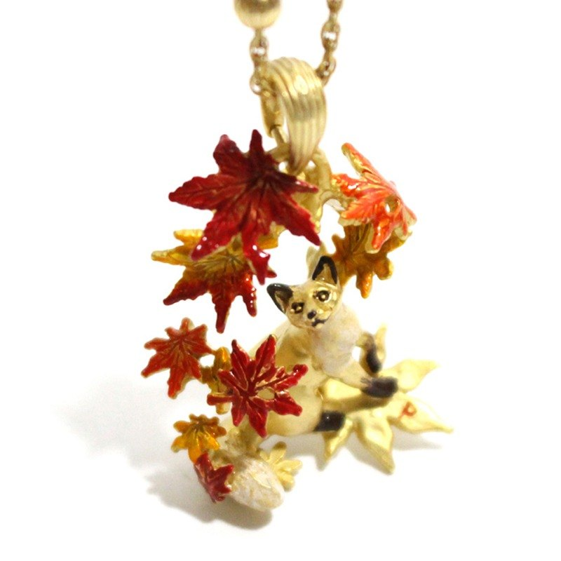 Autumn leaves and fox Autumn leaves good medium / necklace NE 354