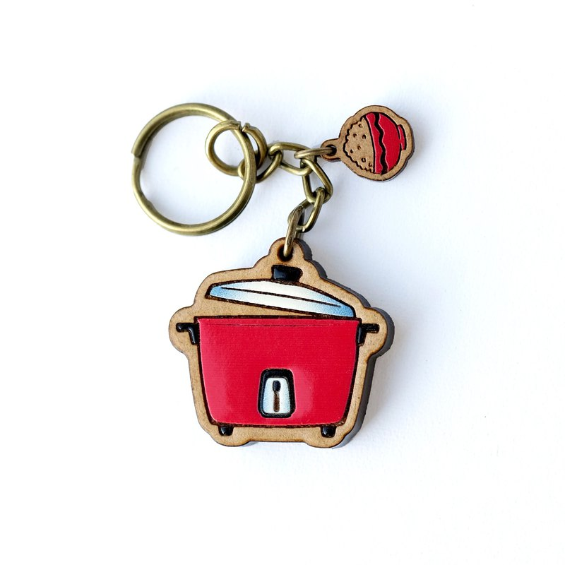 Painted Wooden key ring - Rice Cooker (red)