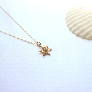 Golden snowflakes-Brass necklace