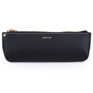[Saffiano]|Pencil Case M|Zipper Pouch Silver Kraft