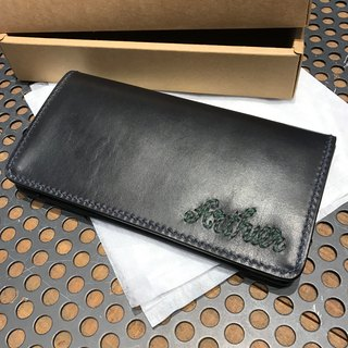 Custom handmade leather long attached zipper coin purse (free printing, embroidered words)