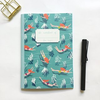 Swimmer Notebook | Under the sea A5 Grid Notebook, swimming pool notebook