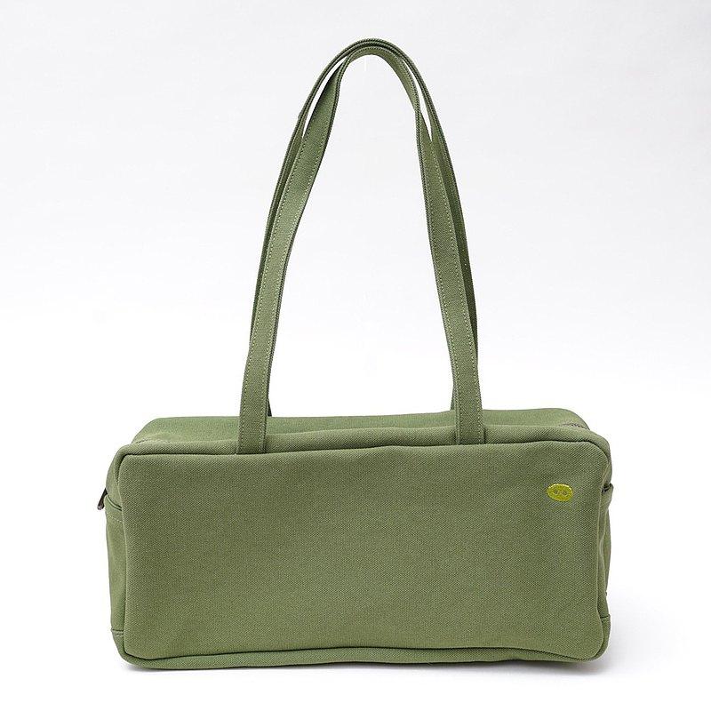 MOGU/帆布肩背托特包/抹茶綠/波特萊爾